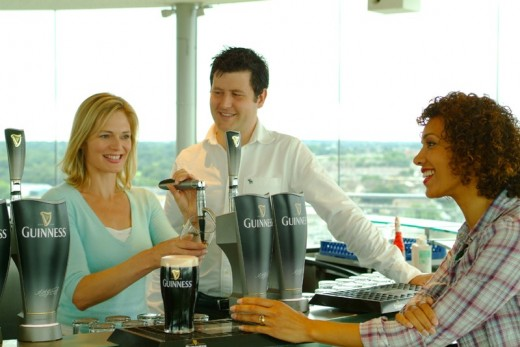 Tasting a pint of Guinness at the end of our Guinness Storehouse Tour